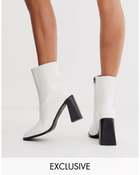 Boohoo Exclusive Flared Heel Boots With Square Toe - White