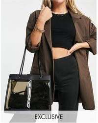 Glamorous Exclusive Clear Tinted Tote Bag - Black
