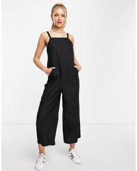 TOPSHOP Lightweight Wide Leg Jumpsuit With Pockets - Black