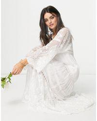 Y.A.S Белое Свабедное Платье Макси С Кружевом В Стиле Бохо -белый