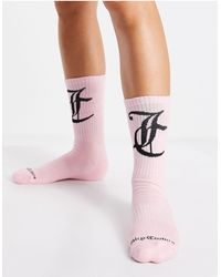 Juicy Couture Ribbed Ankle Socks With Logo - Pink