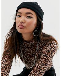 ASOS Petit bonnet style pêcheur en polyester recyclé - Noir