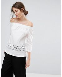 SELECTED - Off Shoulder Lace Detail Top - Lyst