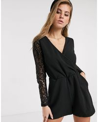 Glamorous Wrap Front Playsuit - Black