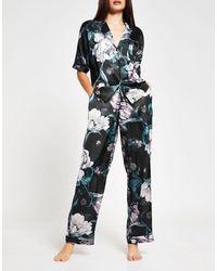 River Island Floral Print Satin Pajama Pants Co-ord - Black