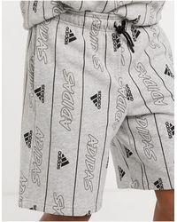 adidas Originals Adidas Training - Short à logo imprimé - Gris