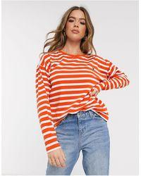 Blend She Oline Stripe Sweatshirt - Orange