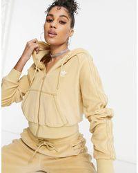 adidas Originals Relaxed Risqué - Hoodie zippé en velours - Beige - Neutre