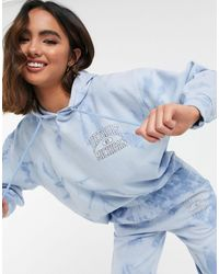 New Look Co-ord Graphic Logo Tie-dye Hoodie - Blue