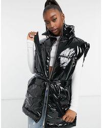 The Couture Club Signature Sleeveless Padded Jacket - Black