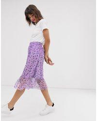 Ichi Falda de malla con sobrefalda en el bajo y estampado floral - Morado