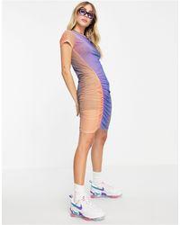 Weekday – darcy – recycled – gerafftes minikleid mit buntem farbverlauf-design - Mehrfarbig
