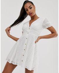 NA-KD V-neck Broderie Anglaise Mini Dress In White