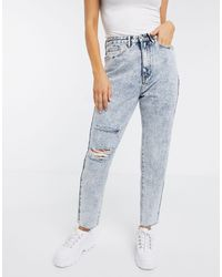 Missguided Mom Jean With Knee Rip - Blue