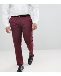 ASOS - Plus Skinny Smart Trousers In Burgundy - Lyst
