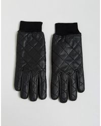 French Connection - Quilted Leather Gloves In Black - Lyst