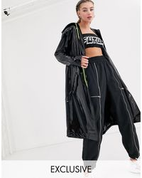 Collusion Wet Look Pu Parka - Black