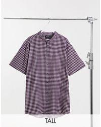 Burton Big & Tall Short Sleeve Shirt With Mini Check - Red