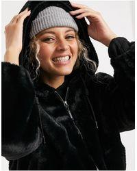 Bershka Faux Fur Cropped Jacket - Black