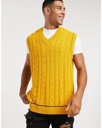 ASOS – Übergroßes Trägershirt mit Zopfstrickmuster - Gelb