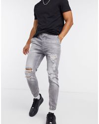 Bershka Denim sweatpants With Rips - Grey
