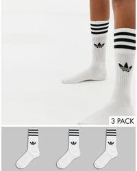 adidas Originals 3 Пары Белых Носков С Логотипом-трилистником -белый