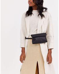 ASOS Leather Flat Bum Bag - Black