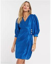 Vero Moda Taffeta Wrap Mini Dress With Diamante Buttons - Blue