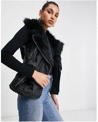 Guess Faux Fur Pu Vest - Black