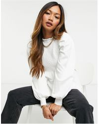 ASOS Frill Neck Jumper With Shirred Body - Natural
