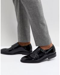 Dune - Monk Shoes In Black Leather - Lyst