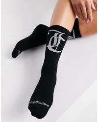 Juicy Couture Ribbed Ankle Socks With Logo - Black