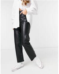 Levi's Ribcage Straight Leg Ankle Grazer Faux Leather Jeans - Black