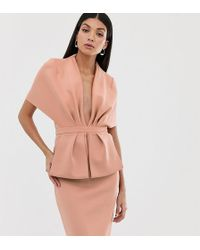 ASOS Asos Design Tall Structured Plunge Kimono Midi Dress With Peplum - Pink