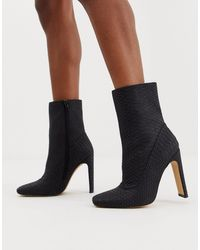 Missguided Square Toe Faux Suede Ankle Boot - Gray