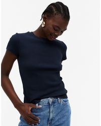 Monki Magdalena - T-shirt côtelé en coton biologique - Bleu