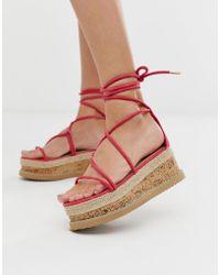 Truffle Collection Sandalen Met Plateauzool En Strikbanden In Fuschia - Roze