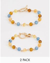 ASOS - Pack Of 2 Bracelets In Multicolour Beaded Design - Lyst