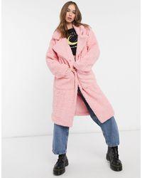 Daisy Street Abrigo largo extragrande en polar estilo peluche - Rosa