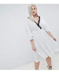 ASOS - Asos Design Curve Spot Lace Trim Kimono Midi Dress - Lyst