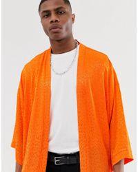 ASOS Festival Oversized Tonal Leopard Print Kimono - Orange