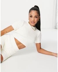 Missguided Co-ord Recycled Popcorn Knit Crop Top - White