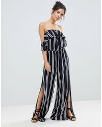 Surf Gypsy - Stripe Off The Shoulder Beach Jumpsuit - Lyst