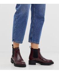 New Look Platte Chelsea Boots Met Dikke Zool In Donkerrood