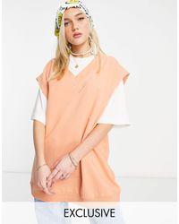 Reclaimed (vintage) Inspired – Ärmelloser Unisex-Pullover aus Bio-Baumwolle - Gelb