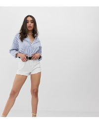 PrettyLittleThing High Waisted Shorts - White