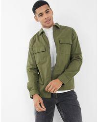 Threadbare Рубашка Навыпуск Цвета Хаки Сosmo-зеленый Цвет