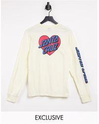 Santa Cruz Heart Dot - T-shirt a maniche lunghe crema - Multicolore