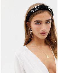 New Look Pearl Knot Aliceband - Black