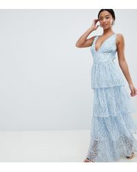 Missguided - Lace Tiered Maxi Dress - Lyst